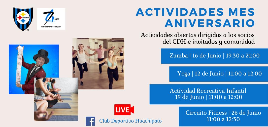 Invitación a actividades del Club Deportivo Huachipato en el marco de su Aniversario 74