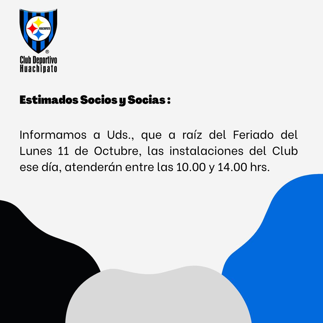 HORARIO INSTALACIONES LUNES 11 DE OCTUBRE